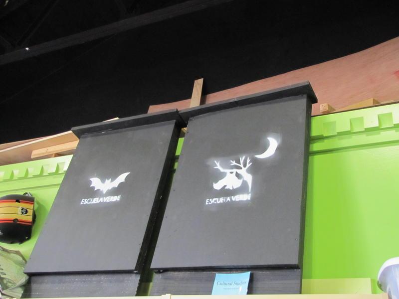 Student-built bat houses Esceula Verde hopes to place around the city.