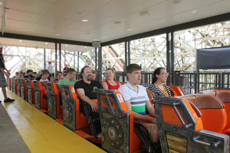 Stephanie Lecci (first car on the right) gets ready to ride the coaster