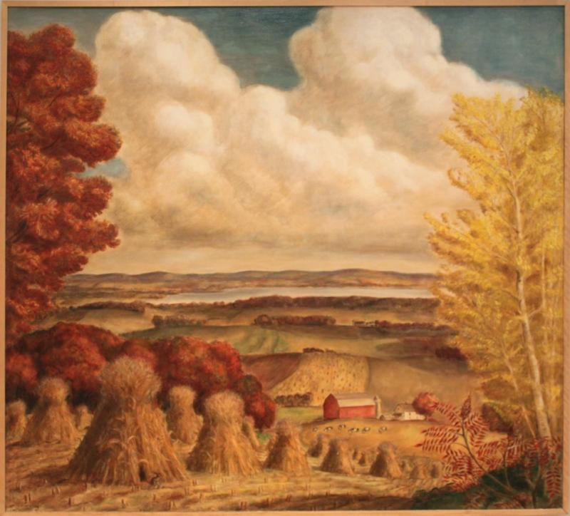 John Steuart Curry, Wisconsin Farm Scene, Oil on canvas, 1941. Gift of First National Bank and First Wisconsin Corporation, Lent by the Chazen Museum of Art, UW-Madison to the Museum of Wisconsin Art