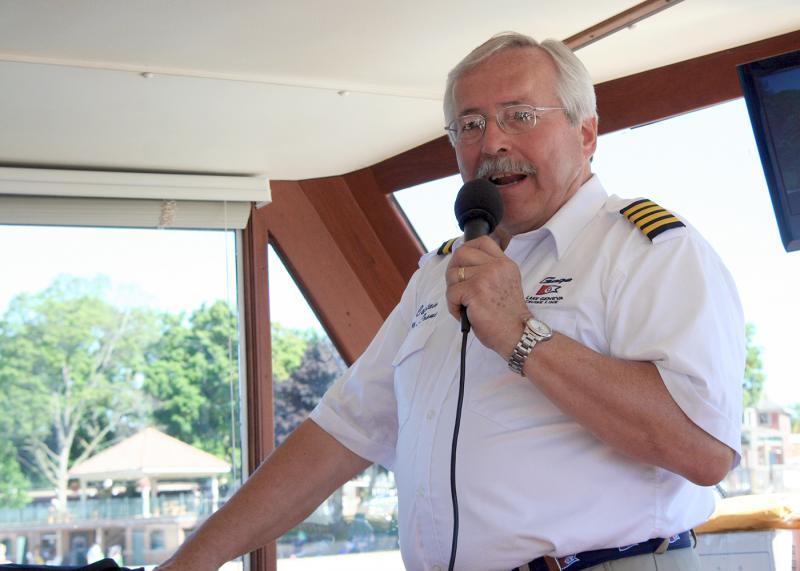 Captain Neill Frame has decades of experience steering the 75-foot Walworth around the piers on Geneva Lake.
