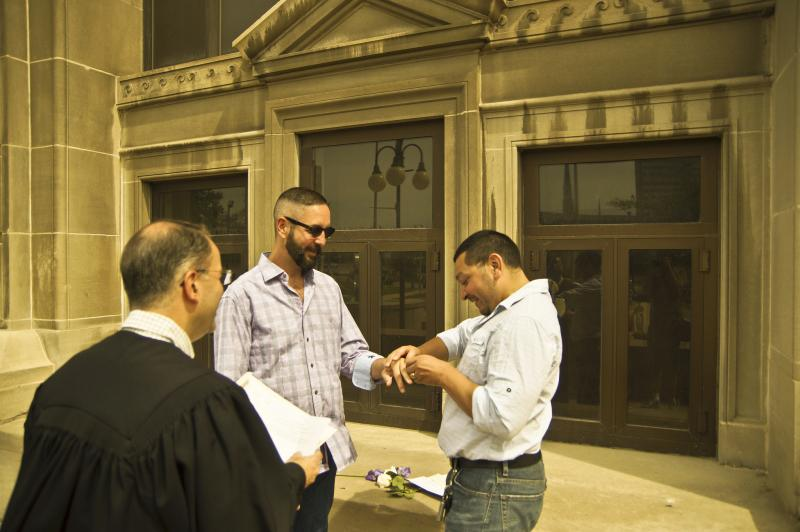 Couple getting married in Wisconsin in June 2014.