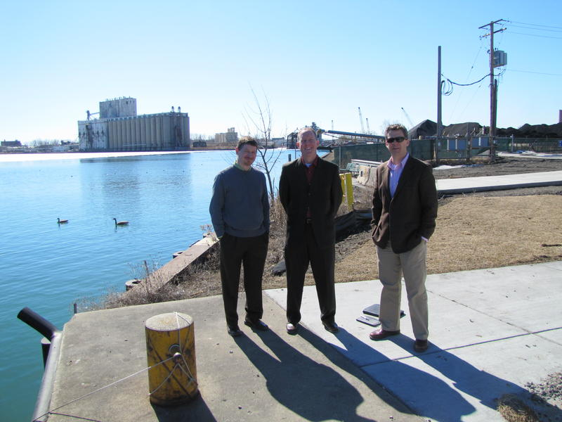 Eric Leaf, Dave Misky & Ben Gramling standing at east end of Greenfield Ave.  They are among those rooting for, and involved in planning, a revitalized Milwaukee Harbor.