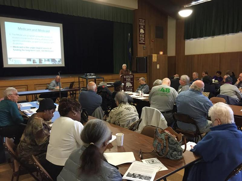 Retirees gather at the Washington Park Senior Center in Milwaukee to discuss Social Security and Medicare