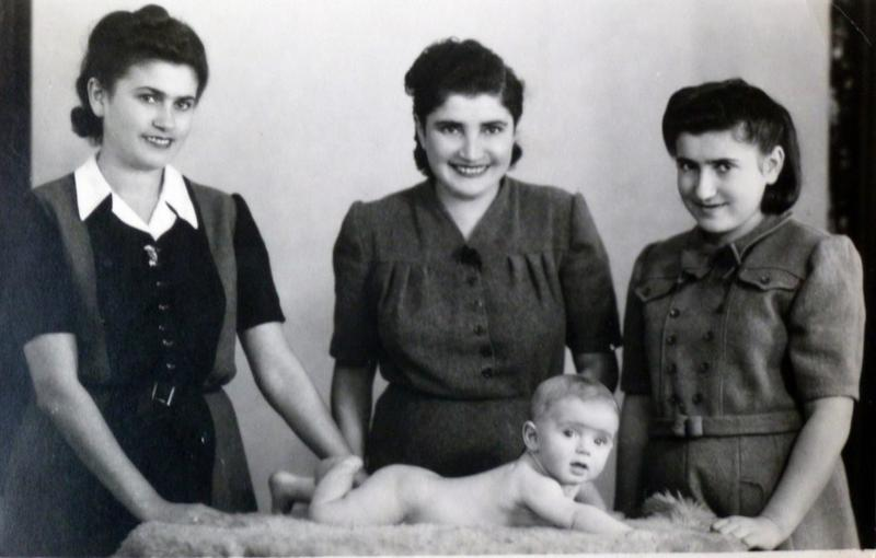 Baby Mark Olsky his mother, Rachel (center), and aunts Sala (left) and Ester (right)in 1946, one year after they all were liberated from a Nazi concentration camp by American troops.