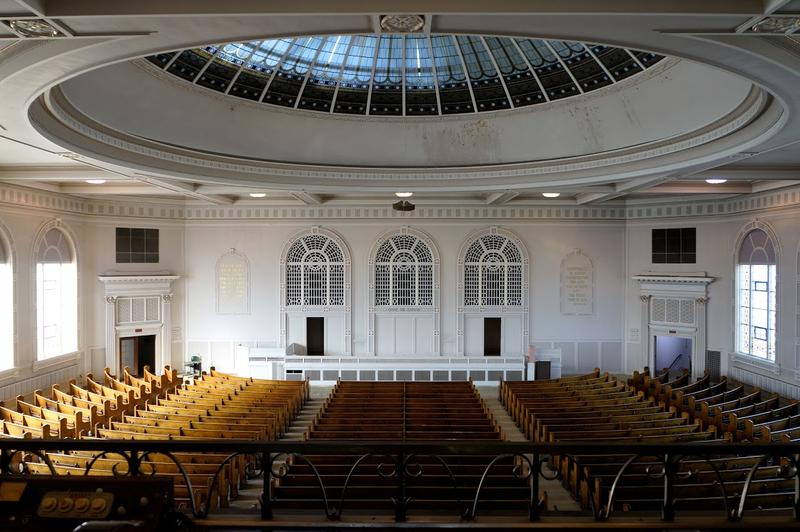 The domed auditorium can seat 1,400 people.