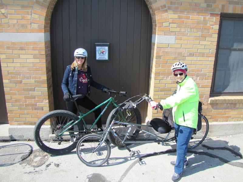 "Amber Vavrusa and Cheri Briscoe at South Shore Park passport ""mailbox"""