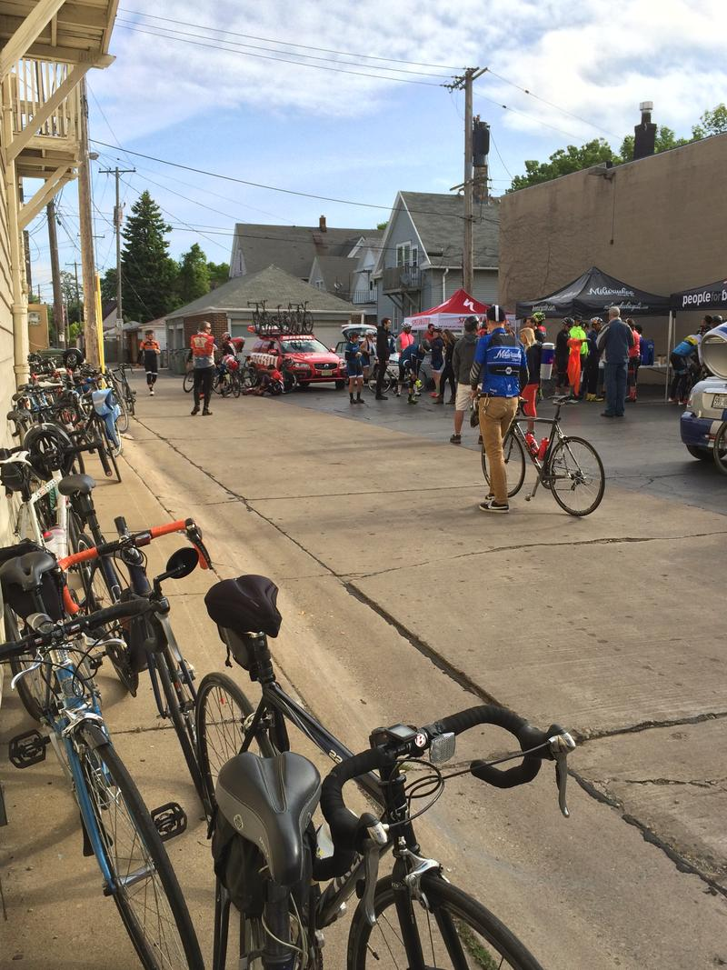 Cyclists gather at Ben's Cycle before starting the final ride to Chicago.