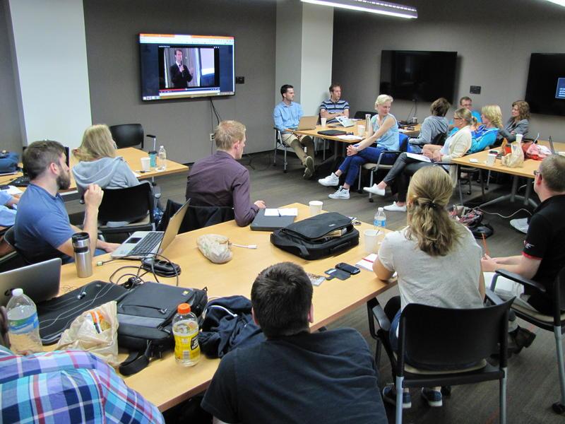 UW-Whitewater grad, entrepreneur Joe Scanlin (center back) helped lead Wetskills pitch training