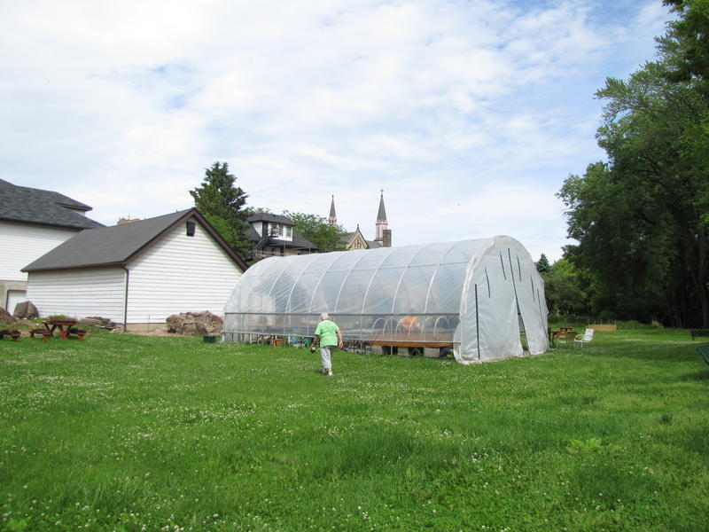 A hoop house augments the Sisters ability to grow vegetables.  Last year, they harvested 4,000 pounds.