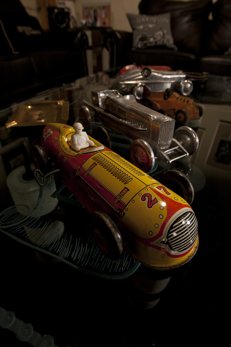 Willie G.'s collecting reflects his lifelong interests. These vintage toys marry his love of racing with his penchant for mechanical things.