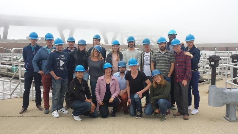 Wetskills crew during tour of wastewater treatment system on Jones Island