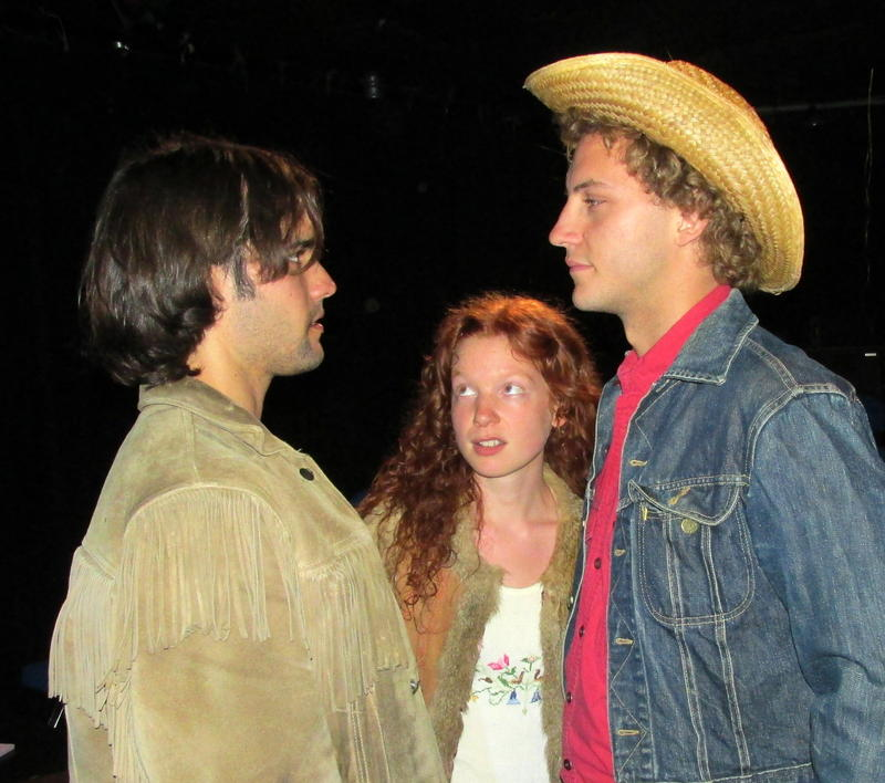(left to right) Max Tomaszewski as Jim Morrison, Brittany Noelle Curran as Pam Courson, Coy Wentworth as Tom Baker