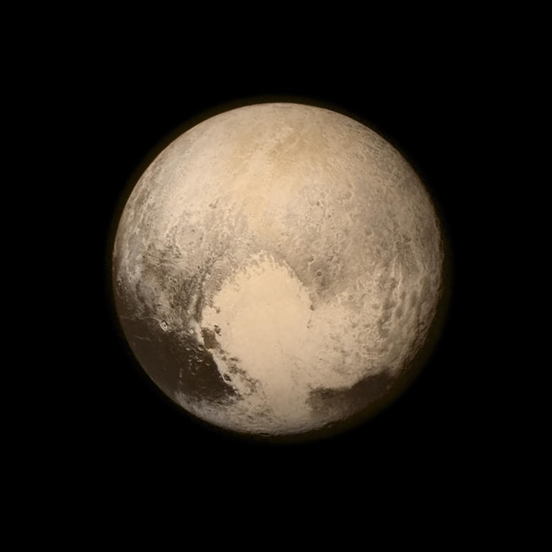 Image from the Long Range Reconnaissance Imager (LORRI) aboard NASA's New Horizons spacecraft, taken on July 13, 2015, when the spacecraft was 476,000 miles from the surface.