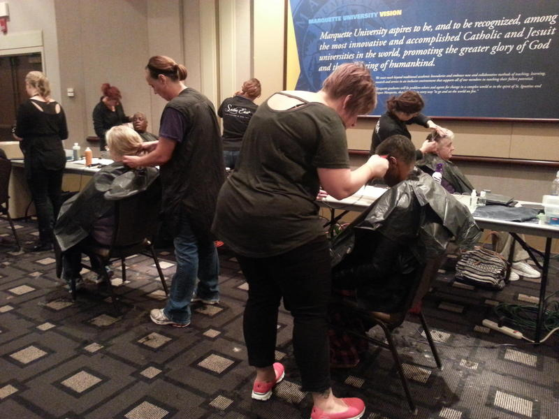 Stylists were on hand at the homeless services fair at Marquette University.