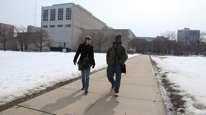 Director Faith Kohler walks with Harold, a main character and vocal part of the documentary.