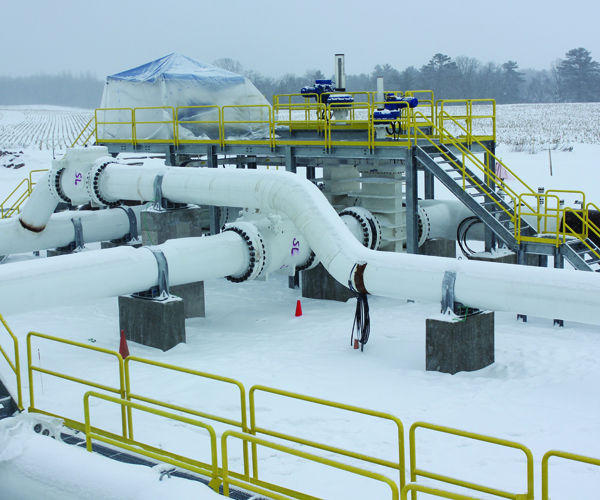Line 61 pumping station under construction this winter in the Town of Sand Lake.