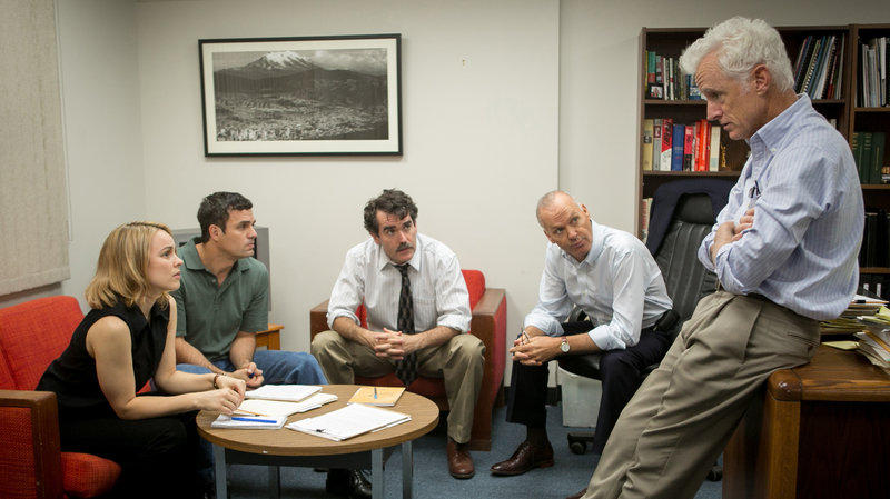"Rachel McAdams, Mark Ruffalo, Brian d'Arcy James, Michael Keaton and John Slattery play Boston Globe journalists in the film, ""Spotlight."""