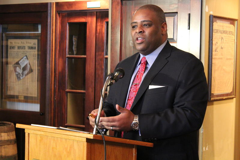 PHOTO CAPTION: Demond Means, commissioner of the Opportunity Schools and Partnership program, speaks at a Press Club event in downtown Milwaukee. Means serves as superintendent of the Mequon-Thiensville School District.