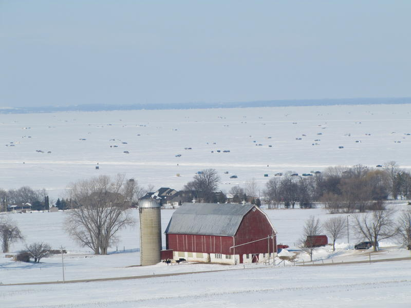 Lake Winnebago's eastern shore with hundreds of shanties in the background.