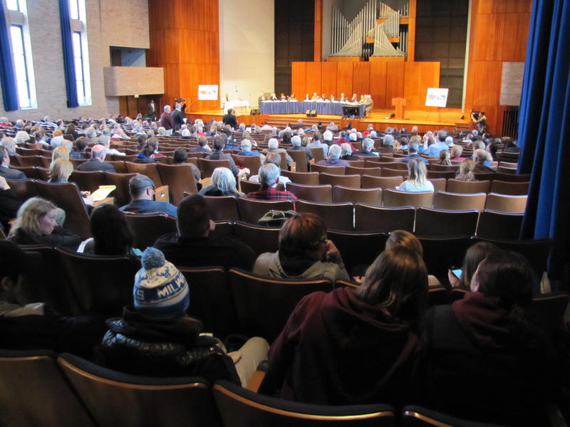 More than 200 people filed into Carroll University's Shattuck Auditorium for Thursday's public hearing.