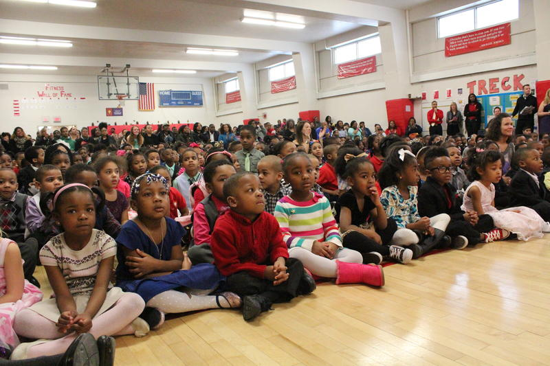 "Students at Milwaukee College Prep's 36th Street Campus listen during the school's ""alternative Academy Awards"" ceremony Thursday."