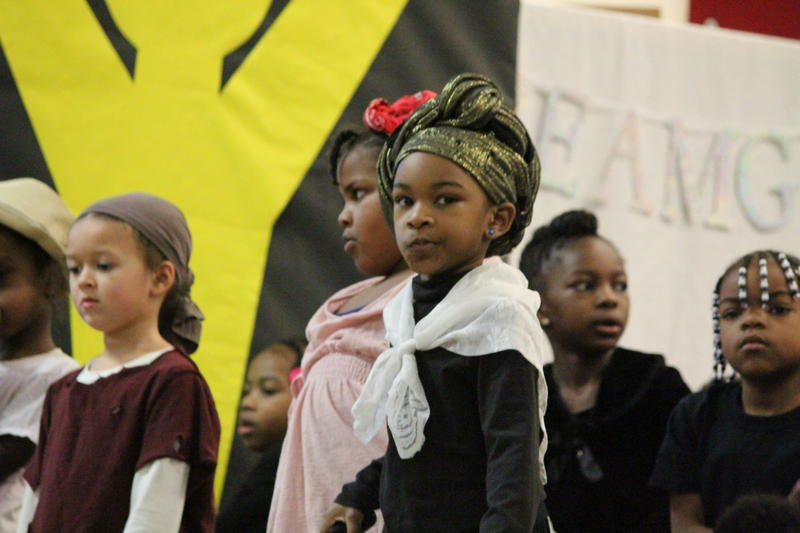 This K5 student dressed and acted the part of Harriet Tubman during her class' skit.