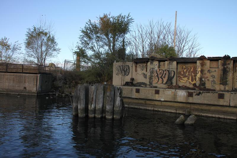Graffiti is currently part of the harbor landscape.