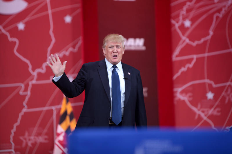 Donald Trump speaking at the 2015 Conservative Political Action Conference (CPAC) in National Harbor, Maryland.