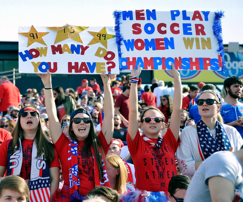 Fans of USA cheer during an international friendly match against France in the SheBelieves Cup at Nissan Stadium on March 6, 2016 in Nashville, Tennessee.