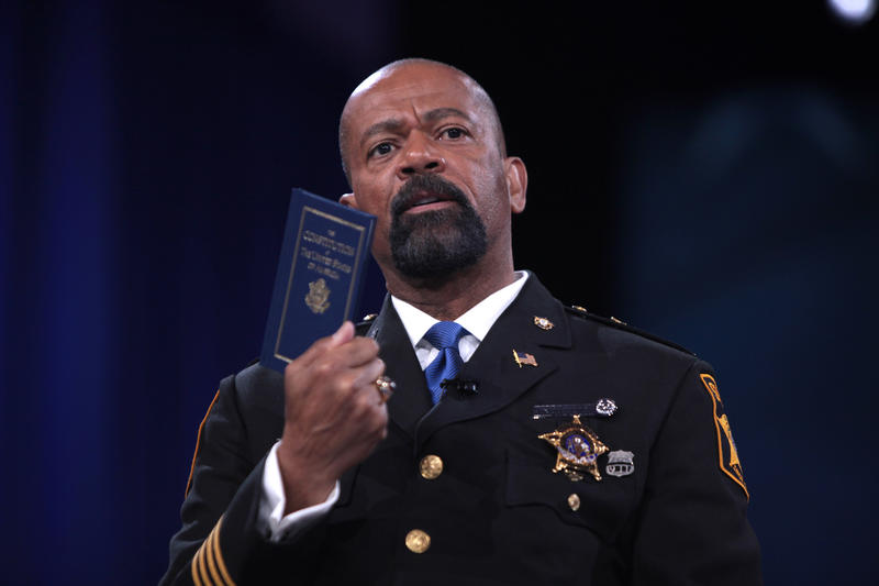 Sheriff David Clarke speaking at the 2016 Conservative Political Action Conference (CPAC) in National Harbor, Maryland.