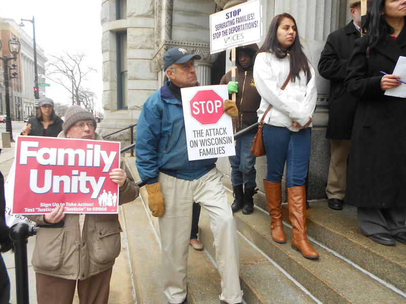 Supporters of immigrant rights rallied at the federal building in downtown Milwaukee in December 2014.