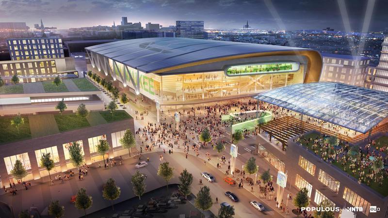 Rendering of the new Bucks Arena.