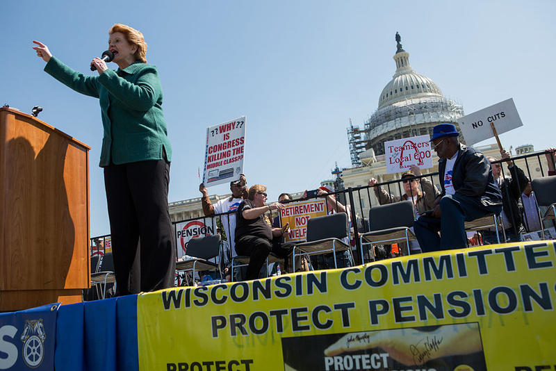 In April, Sen. Debbie Stabenow (D-MI) spoke to a crowd gathered at the U.S. Capitol building for a rally with Teamsters Union retirees who are voicing their opposition to deep cuts to their pension benefits.