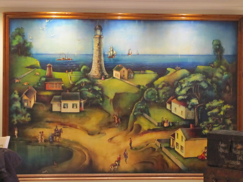 Milwaukee's first lighthouse was below Wisconsin Ave.  Mural on loan from Milwaukee County Historical Society.