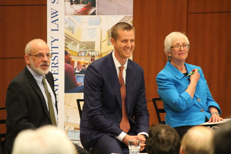 (From left) Moderator Alan Borsuk joins Rep. Dale Kooyenga (R-Brookfield) and MTEA executive director Lauren Baker for a conversation on education Tuesday afternoon.