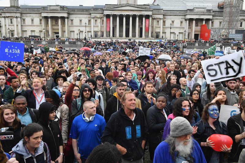 Protestors demonstrating against the EU referendum result outside the in Trafalgar Square in London.
