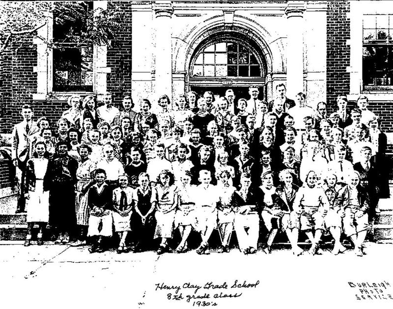 """Henry Clay Grade School, 8th Grade Class, 1930s."""