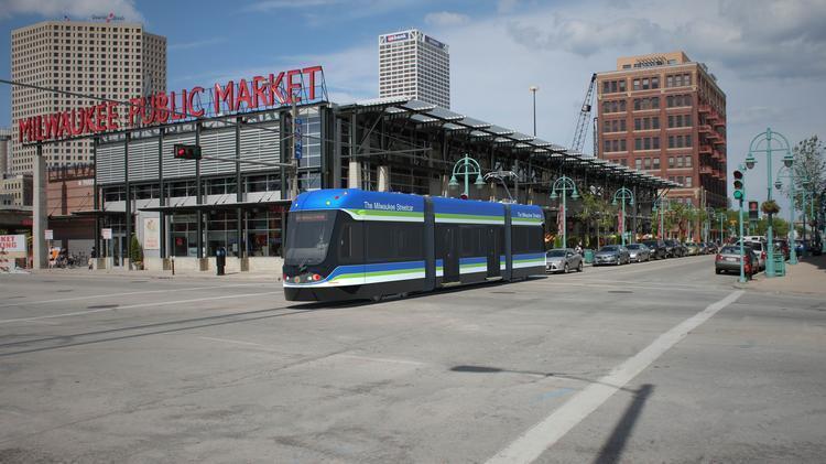 An artist's rendering of the Milwaukee Streetcar.