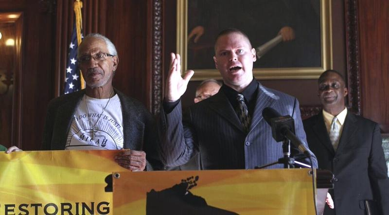 EXPO leaders William Harrel (left), Mark Rice (middle), and Jerome Dillard (right) speaking at a press conference in the State Capitol to launch the ROC Wisconsin campaign.