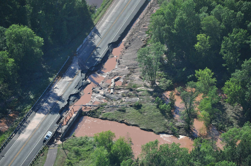 Damage on Highway 2 in Ashland County taken on July 12, 2016 from a Civil Air Patrol.