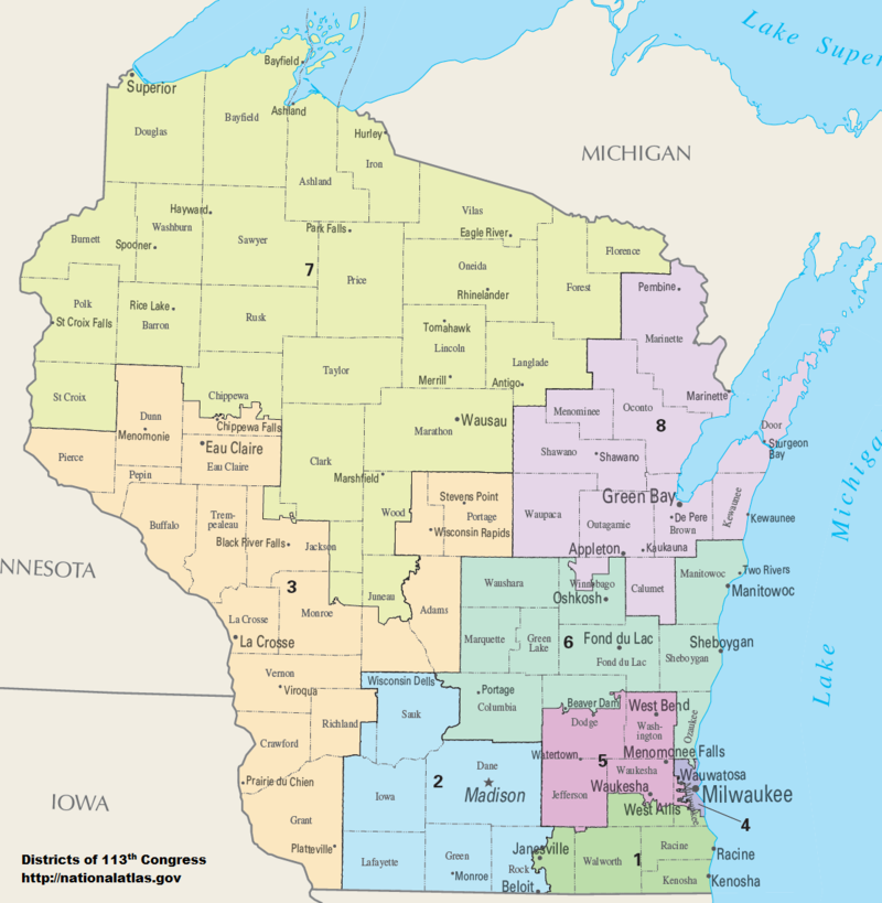 Map of Congressional Districts in the state of Wisconsin, reflecting district boundaries current to the 113th United States Congress.