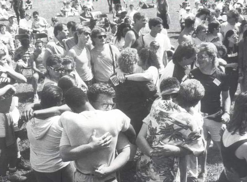 "On Sept. 10, 1988, the first-annual Milwaukee pride festival was held at Mitchell Park with the theme ""Rightfully Proud."""