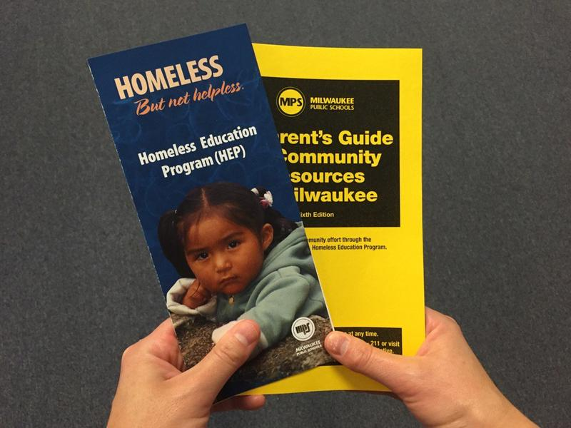 MPS distributes pamphlets and other information for homeless families hoping to enroll in school around the community.