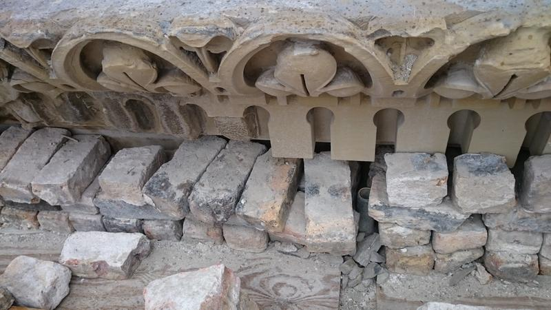 A close up look at some of the stonework in need of repair and replacement on the Basilica of St. Josaphat