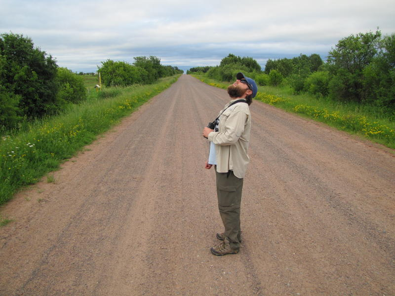 Bird atlas coordinator Nicholas Anich looks for nesting birds in rural Ashland County, among other places.