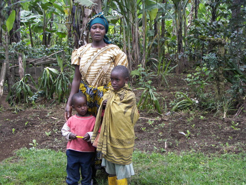 A family of coffee farmers in Mount Meru, Tanzania.