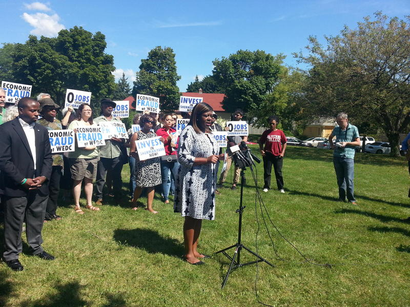 State Rep. LaTonya Johnson of Milwaukee spoke at a rally Tuesday near Sherman Park.