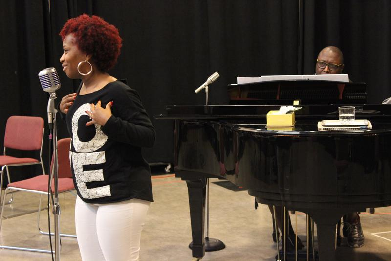 Alexis Rogers performing as Billie Holiday, and Abdul Hamid Royal as pianist Jimmy Rogers.