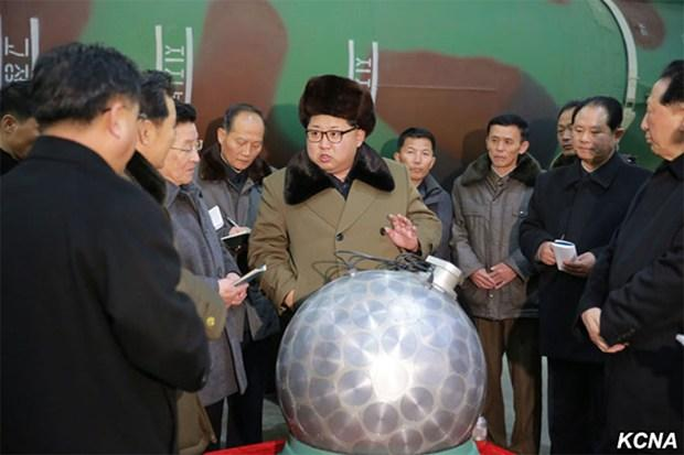 More details Kim Jong Un, with what North Korea claims is a miniaturized silver spherical nuclear bomb, at a missile factory in early 2016.