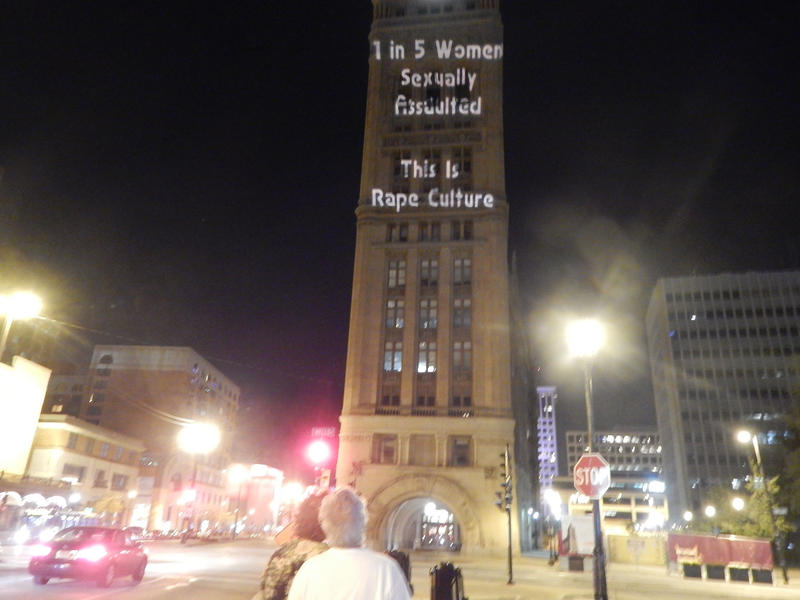 Monday night, UltraViolet, a national women's organization, commissioned a series of projections that went up on buildings across the US, including Milwaukee City Hall.
